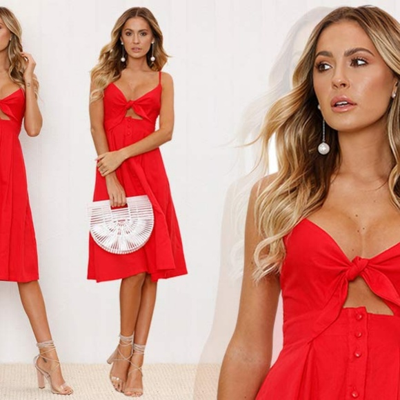 Dresses & Skirts - Red tie front cut out knee length dress